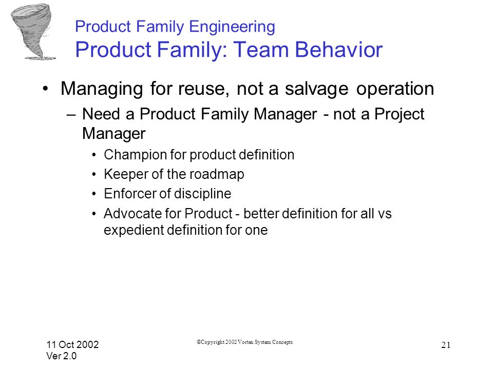 11 Oct 2002 Ver 2.0 ©Copyright 2002 Vortex System Concepts 21 Product Family Engineering Product Family: Team Behavior Managing for reuse, not a salvage operation –Need a Product Family Manager - not a Project Manager Champion for product definition Keeper of the roadmap Enforcer of discipline Advocate for Product - better definition for all vs expedient definition for one