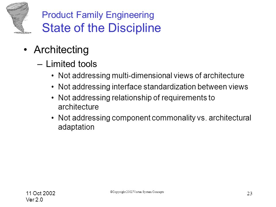 11 Oct 2002 Ver 2.0 ©Copyright 2002 Vortex System Concepts 23 Product Family Engineering State of the Discipline Architecting –Limited tools Not addressing multi-dimensional views of architecture Not addressing interface standardization between views Not addressing relationship of requirements to architecture Not addressing component commonality vs.