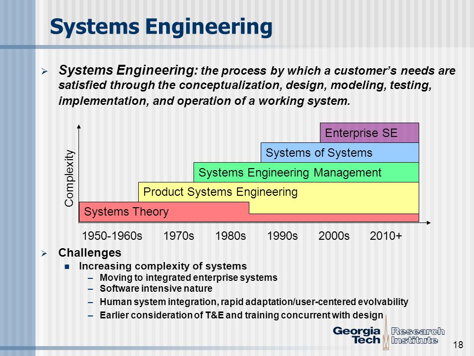 18 Systems Engineering Systems Engineering: the process by which a customers needs are satisfied through the conceptualization, design, modeling, test