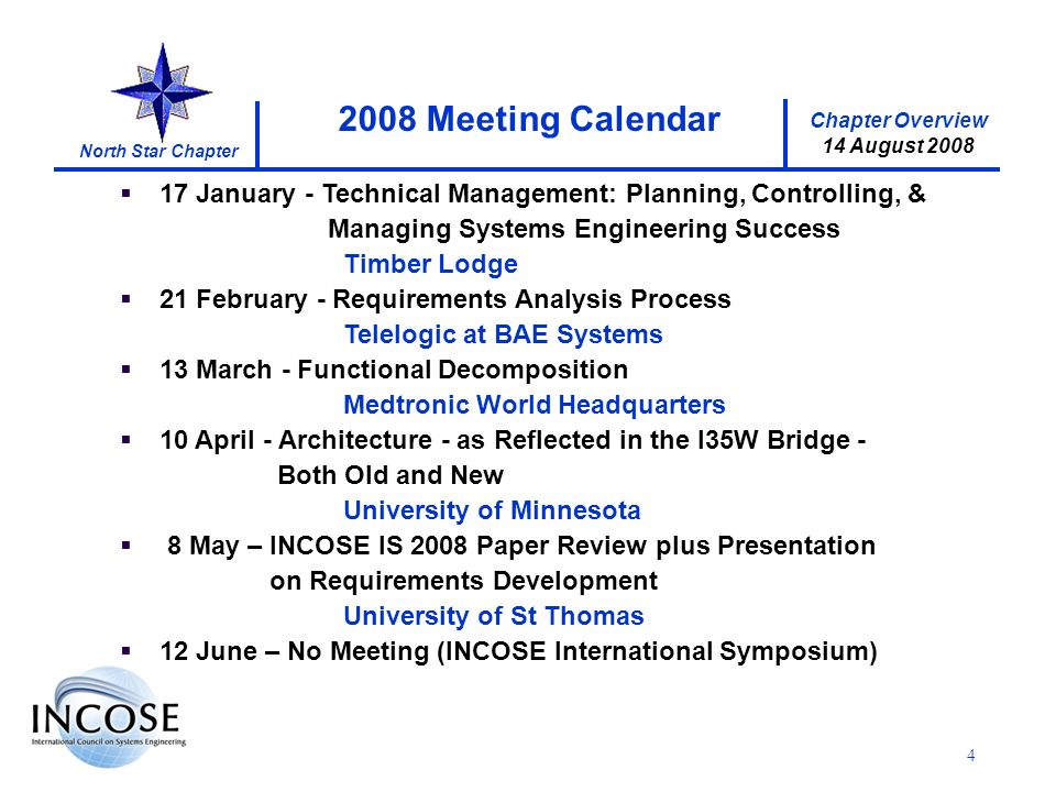 Chapter Overview 14 August 2008 North Star Chapter 4 17 January - Technical Management: Planning, Controlling, & Managing Systems Engineering Success