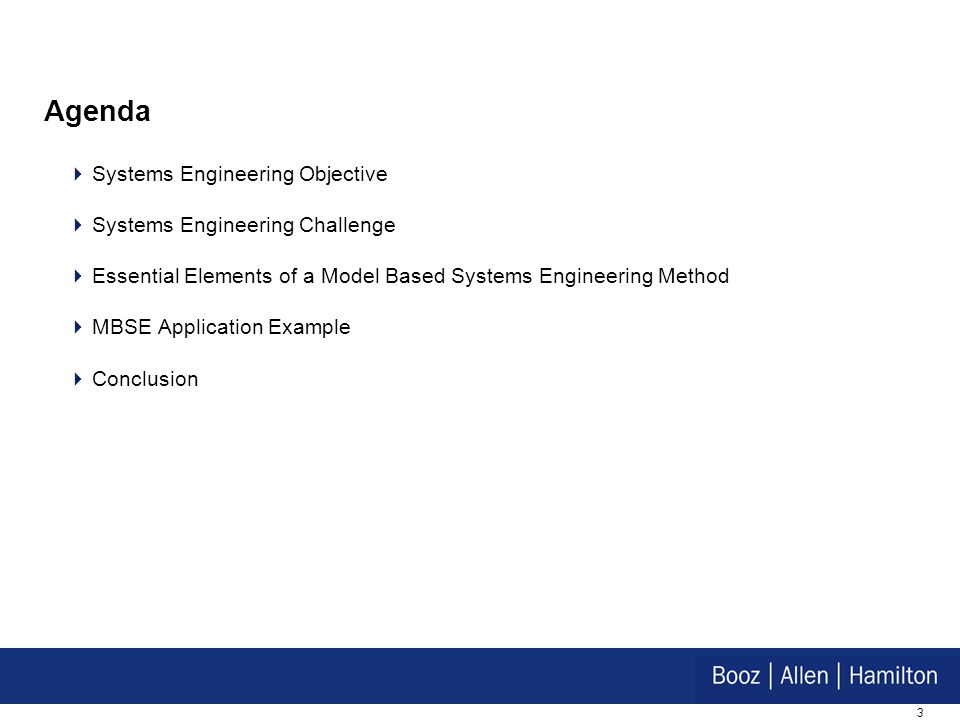 3 Agenda Systems Engineering Objective Systems Engineering Challenge Essential Elements of a Model Based Systems Engineering Method MBSE Application E