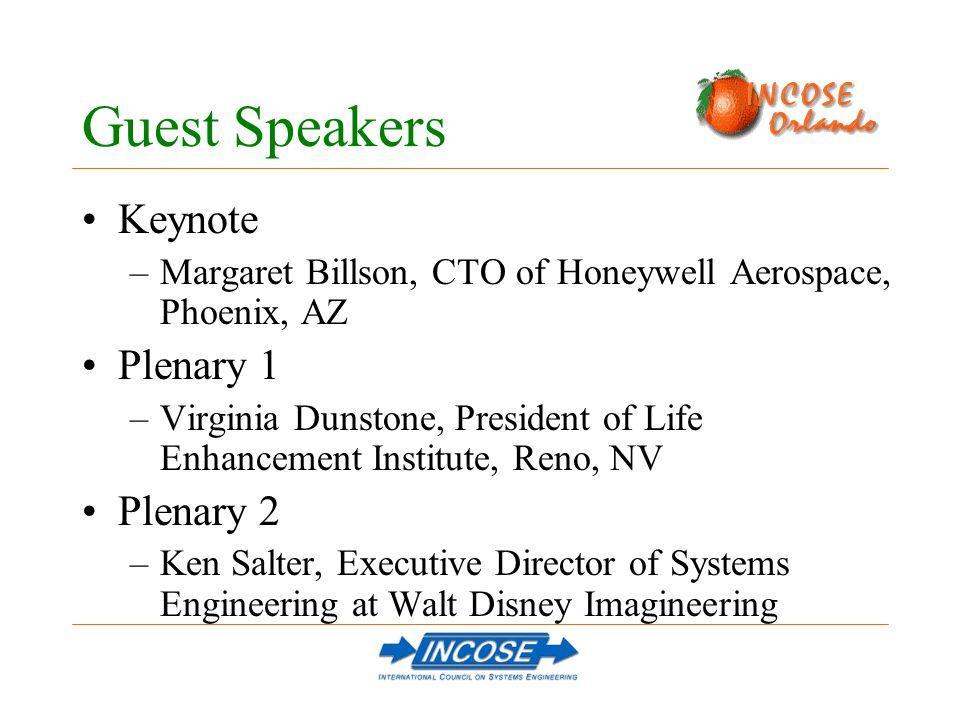 Guest Speakers Keynote –Margaret Billson, CTO of Honeywell Aerospace, Phoenix, AZ Plenary 1 –Virginia Dunstone, President of Life Enhancement Institute, Reno, NV Plenary 2 –Ken Salter, Executive Director of Systems Engineering at Walt Disney Imagineering