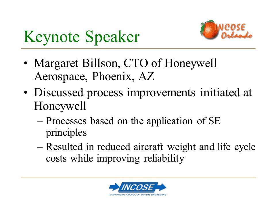 Keynote Speaker Margaret Billson, CTO of Honeywell Aerospace, Phoenix, AZ Discussed process improvements initiated at Honeywell –Processes based on th