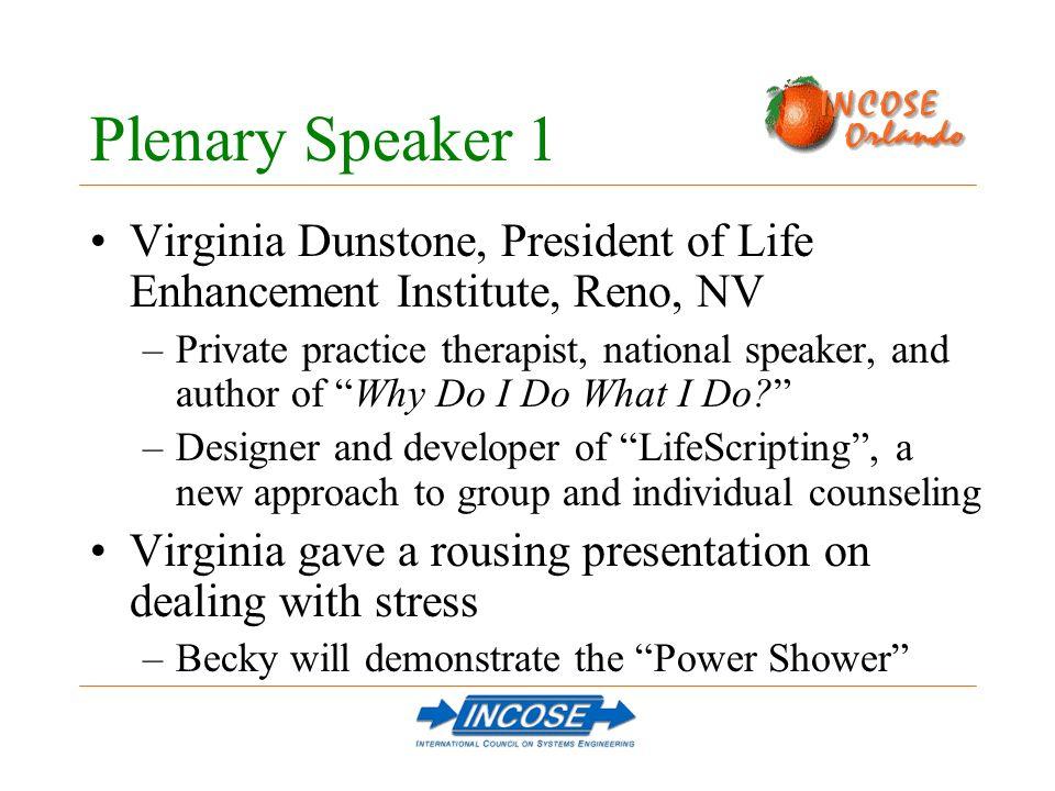 Plenary Speaker 1 Virginia Dunstone, President of Life Enhancement Institute, Reno, NV –Private practice therapist, national speaker, and author of Wh