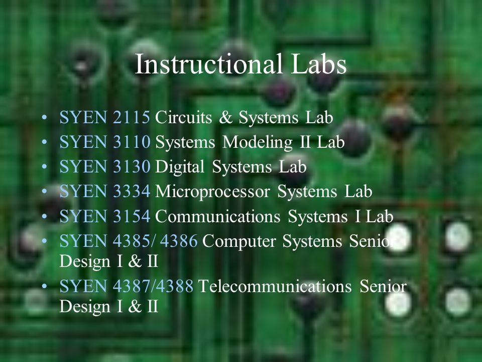 Instructional Labs SYEN 2115 Circuits & Systems Lab SYEN 3110 Systems Modeling II Lab SYEN 3130 Digital Systems Lab SYEN 3334 Microprocessor Systems L