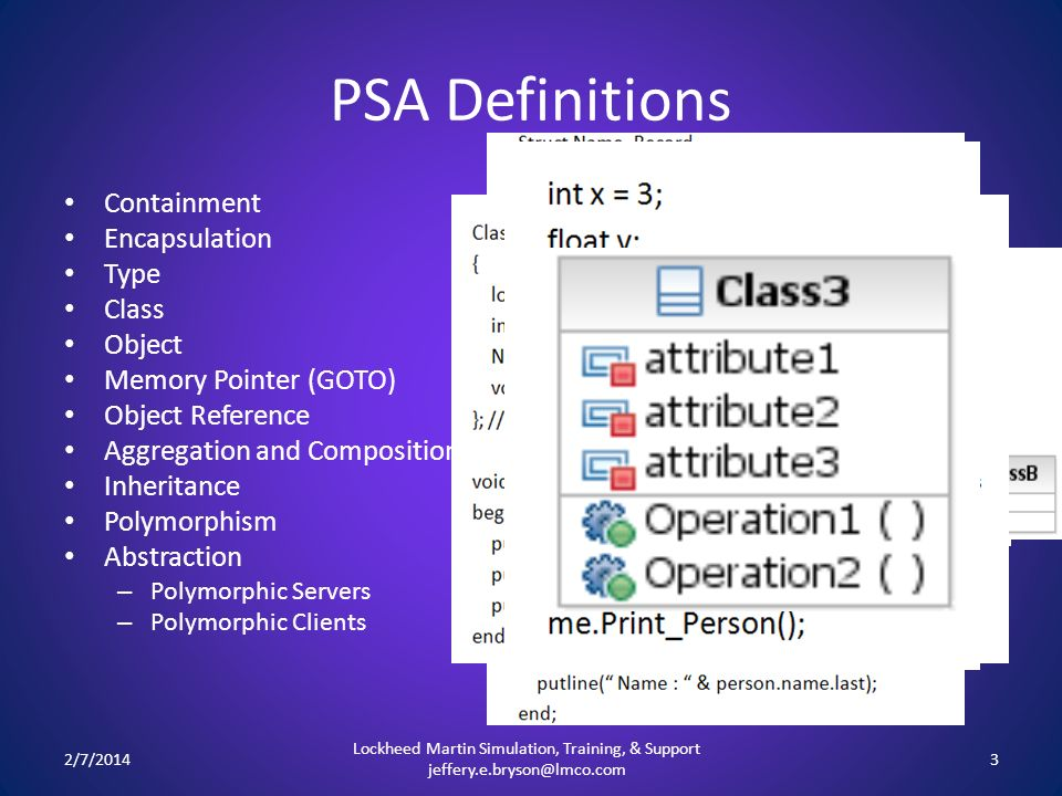 PSA Definitions 2/7/20143 Lockheed Martin Simulation, Training, & Support jeffery.e.bryson@lmco.com Containment Encapsulation Type Class Object Memory