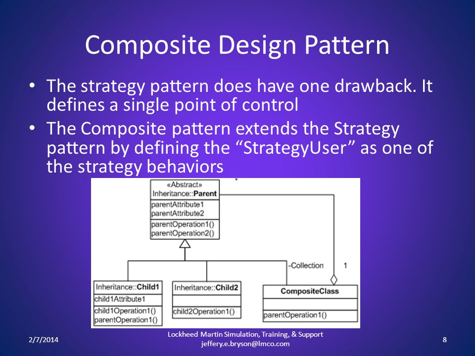 Composite Design Pattern The strategy pattern does have one drawback. It defines a single point of control The Composite pattern extends the Strategy