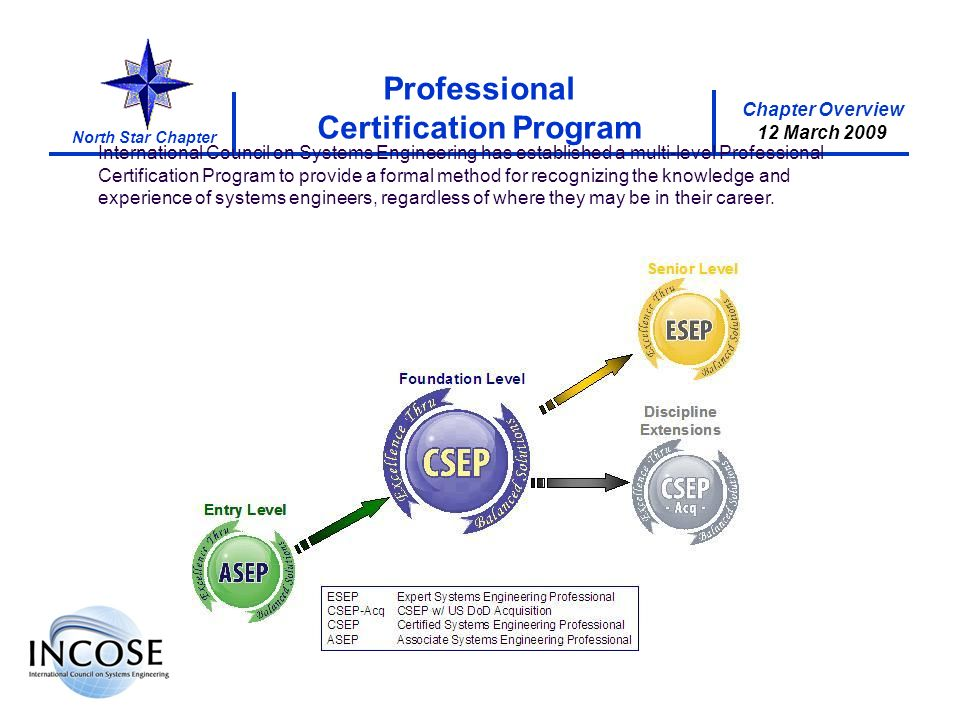 Chapter Overview 8 May 2008 North Star Chapter Chapter Overview 12 March 2009 Professional Certification Program International Council on Systems Engineering has established a multi-level Professional Certification Program to provide a formal method for recognizing the knowledge and experience of systems engineers, regardless of where they may be in their career.