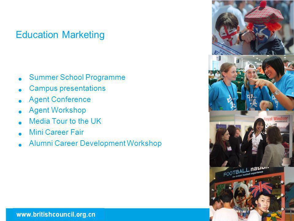 Education Marketing Summer School Programme Campus presentations Agent Conference Agent Workshop Media Tour to the UK Mini Career Fair Alumni Career D
