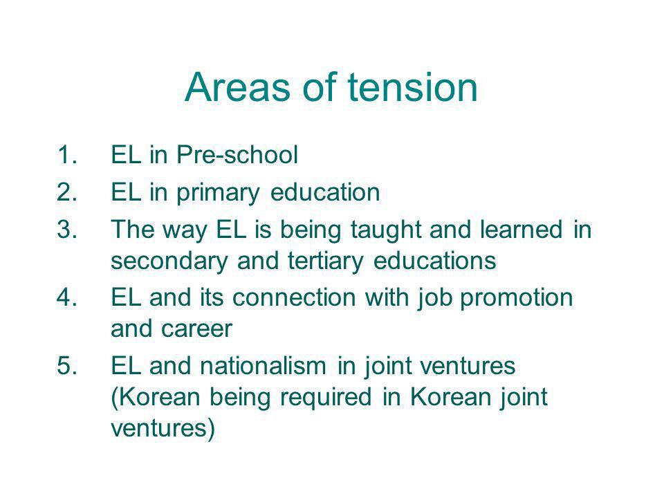 Areas of tension 1.EL in Pre-school 2.EL in primary education 3.The way EL is being taught and learned in secondary and tertiary educations 4.EL and i