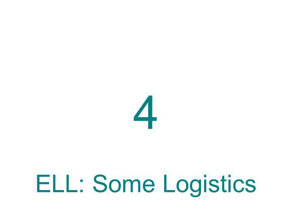 4 ELL: Some Logistics