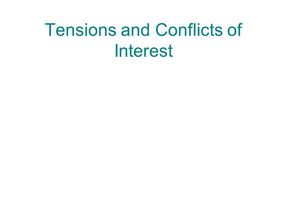 Tensions and Conflicts of Interest