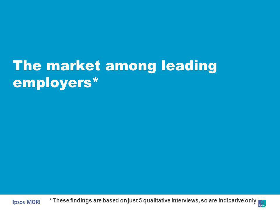 The market among leading employers* * These findings are based on just 5 qualitative interviews, so are indicative only