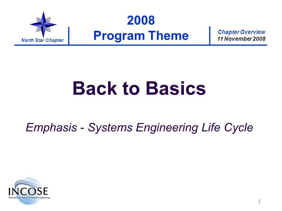 Chapter Overview 11 November 2008 North Star Chapter 1 2008 Program Theme Back to Basics Emphasis - Systems Engineering Life Cycle