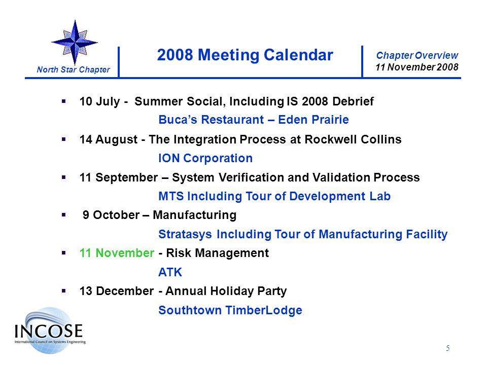 Chapter Overview 11 November 2008 North Star Chapter 5 10 July - Summer Social, Including IS 2008 Debrief Bucas Restaurant – Eden Prairie 14 August - The Integration Process at Rockwell Collins ION Corporation 11 September – System Verification and Validation Process MTS Including Tour of Development Lab 9 October – Manufacturing Stratasys Including Tour of Manufacturing Facility 11 November - Risk Management ATK 13 December - Annual Holiday Party Southtown TimberLodge 2008 Meeting Calendar