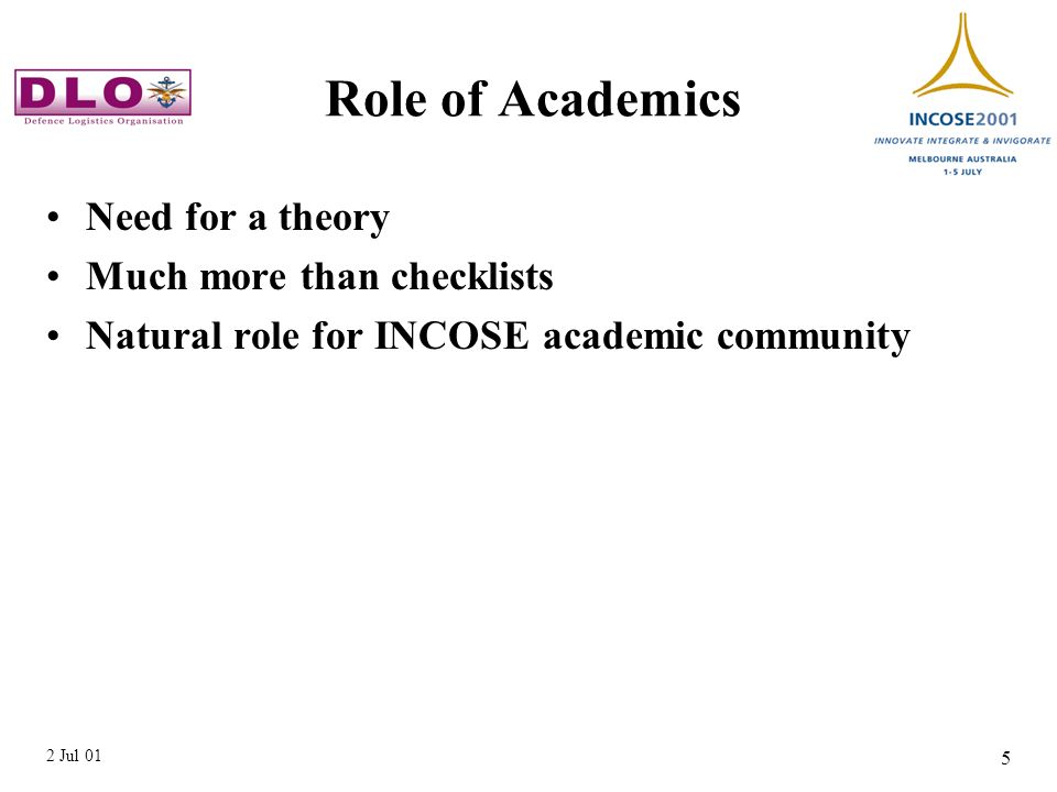 2 Jul 01 5 Role of Academics Need for a theory Much more than checklists Natural role for INCOSE academic community