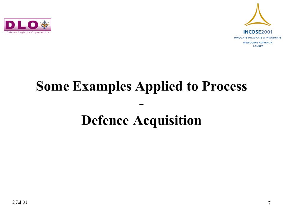 2 Jul 01 7 Some Examples Applied to Process - Defence Acquisition