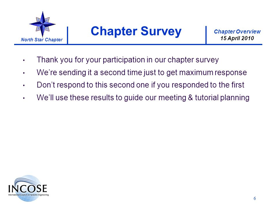 Chapter Overview 15 April 2010 North Star Chapter 6 Thank you for your participation in our chapter survey Were sending it a second time just to get maximum response Dont respond to this second one if you responded to the first Well use these results to guide our meeting & tutorial planning Chapter Survey