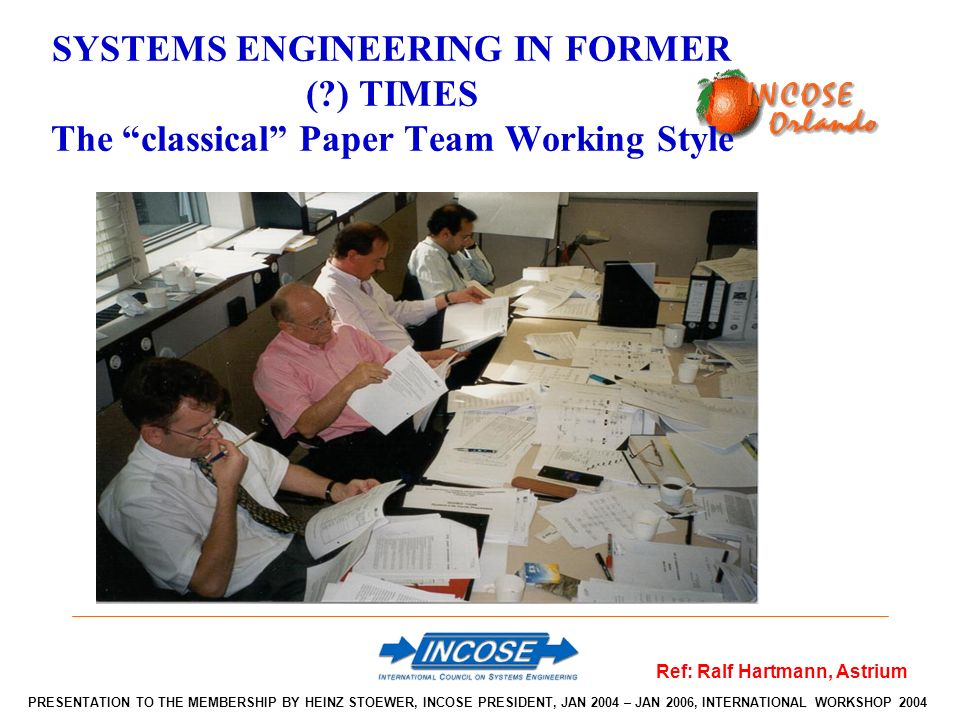SYSTEMS ENGINEERING IN FORMER (?) TIMES The classical Paper Team Working Style Ref: Ralf Hartmann, Astrium PRESENTATION TO THE MEMBERSHIP BY HEINZ STOEWER, INCOSE PRESIDENT, JAN 2004 – JAN 2006, INTERNATIONAL WORKSHOP 2004