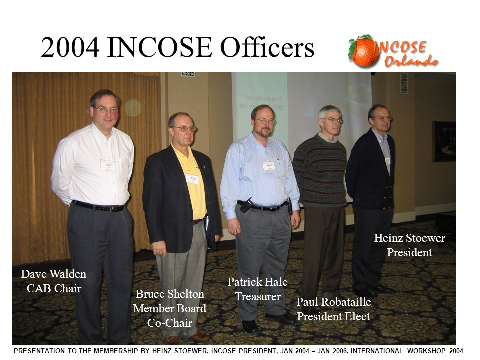 PRESENTATION TO THE MEMBERSHIP BY HEINZ STOEWER, INCOSE PRESIDENT, JAN 2004 – JAN 2006, INTERNATIONAL WORKSHOP 2004 Heinz Stoewer President Paul Robataille President Elect Patrick Hale Treasurer Bruce Shelton Member Board Co-Chair Dave Walden CAB Chair 2004 INCOSE Officers