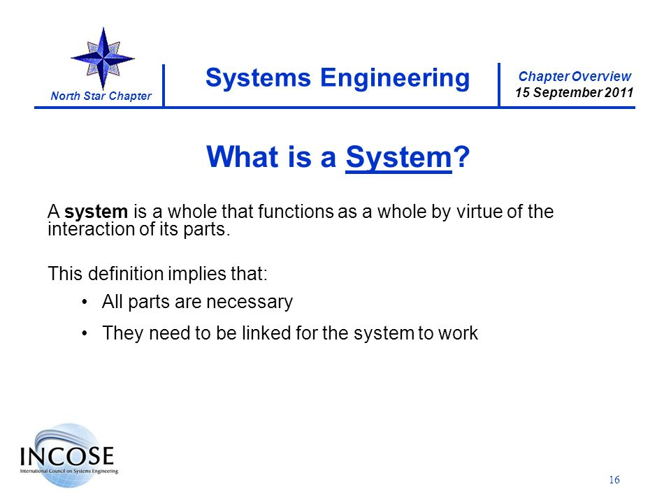 Chapter Overview 15 September 2011 North Star Chapter 16 Systems Engineering What is a System.
