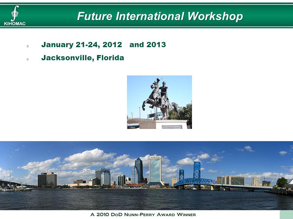 Future International Workshop o January 21-24, 2012 and 2013 o Jacksonville, Florida