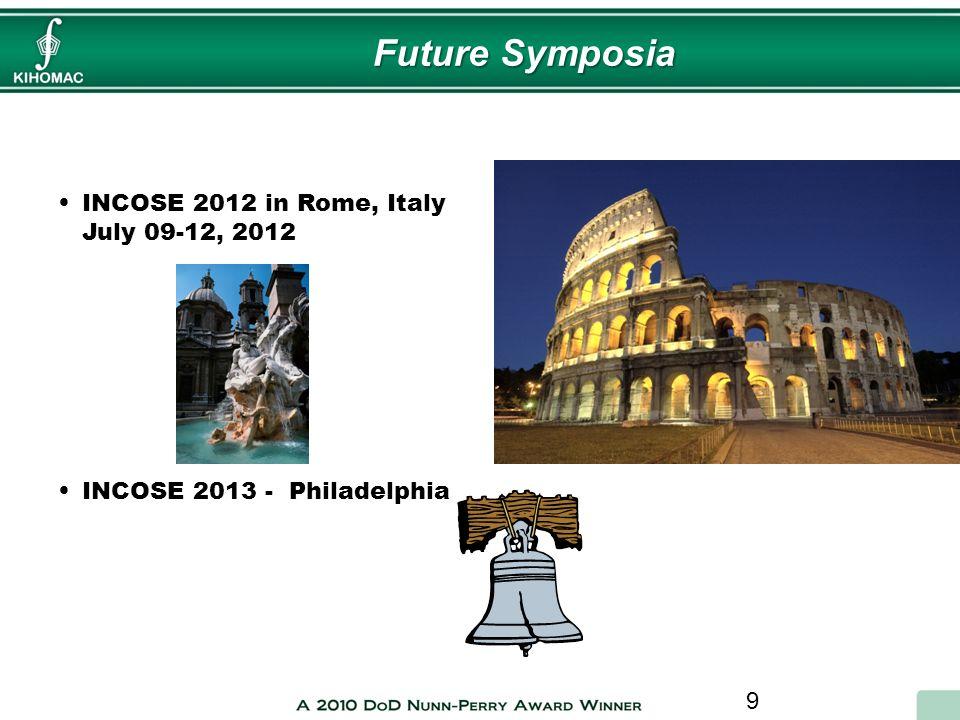 9 INCOSE 2012 in Rome, Italy July 09-12, 2012 INCOSE 2013 - Philadelphia Future Symposia