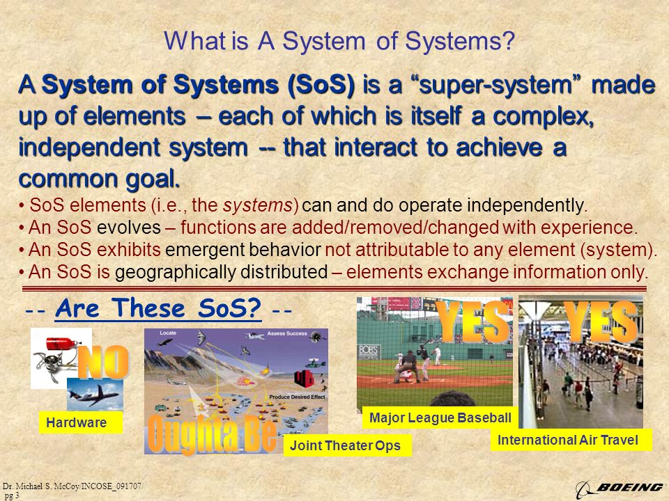 Dr.Michael S. McCoy/INCOSE_091707/ pg 3 What is A System of Systems.