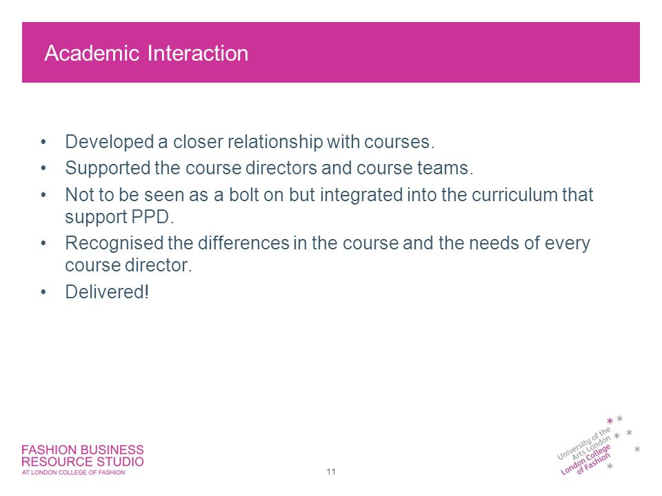 11 Academic Interaction Developed a closer relationship with courses.