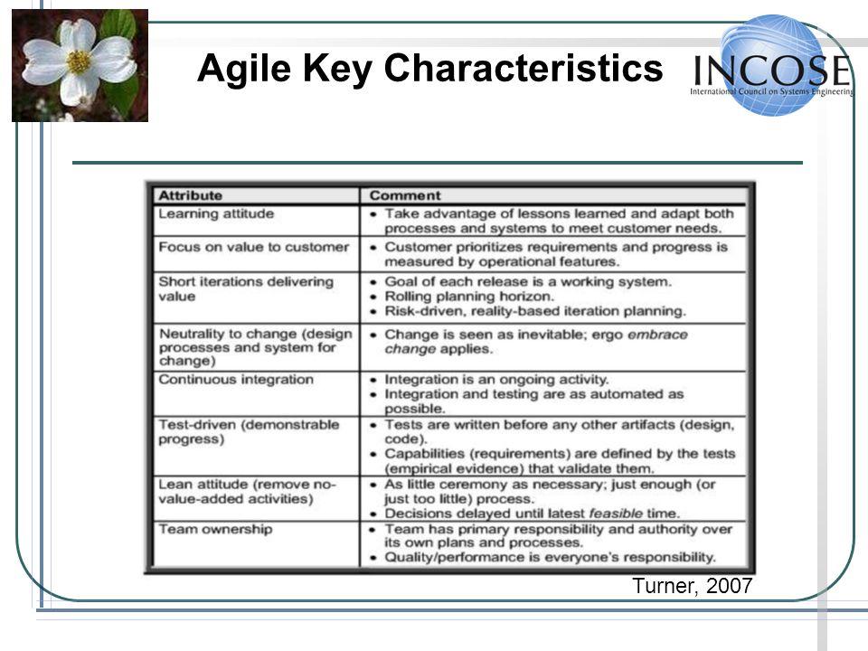 Agile Key Characteristics Turner, 2007