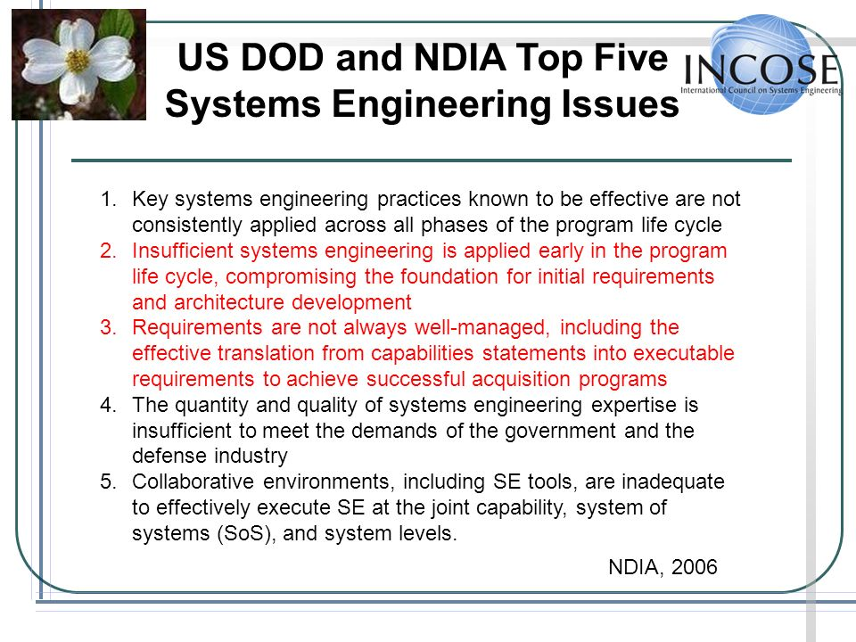 US DOD and NDIA Top Five Systems Engineering Issues 1.Key systems engineering practices known to be effective are not consistently applied across all