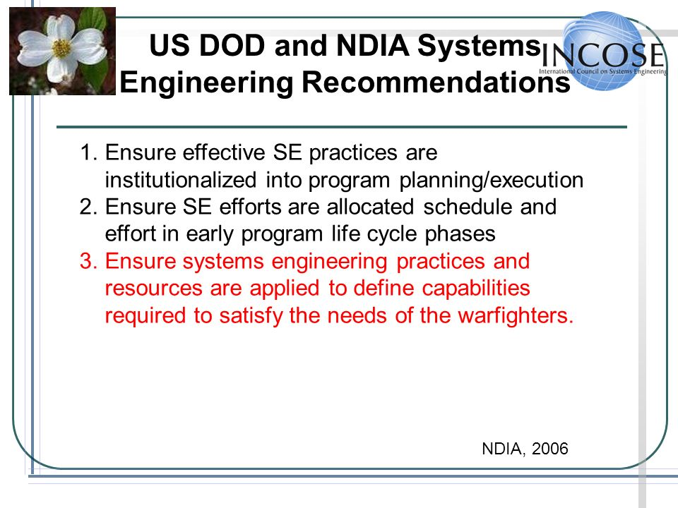 US DOD and NDIA Systems Engineering Recommendations 1.Ensure effective SE practices are institutionalized into program planning/execution 2.Ensure SE