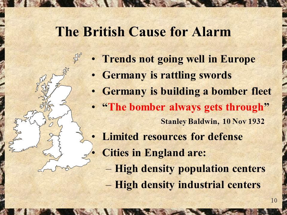 10 The British Cause for Alarm Trends not going well in Europe Germany is rattling swords Germany is building a bomber fleet The bomber always gets th