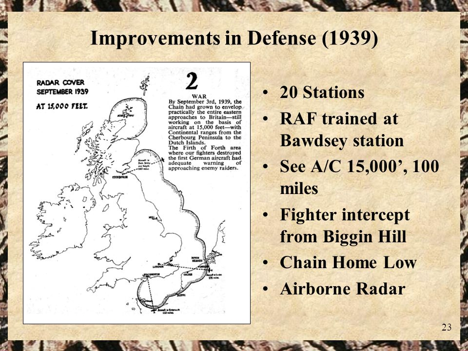 23 Improvements in Defense (1939) 20 Stations RAF trained at Bawdsey station See A/C 15,000, 100 miles Fighter intercept from Biggin Hill Chain Home L
