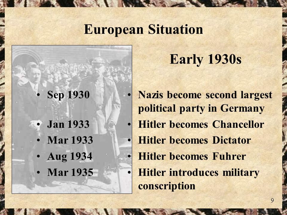 9 European Situation Nazis become second largest political party in Germany Hitler becomes Chancellor Hitler becomes Dictator Hitler becomes Fuhrer Hi
