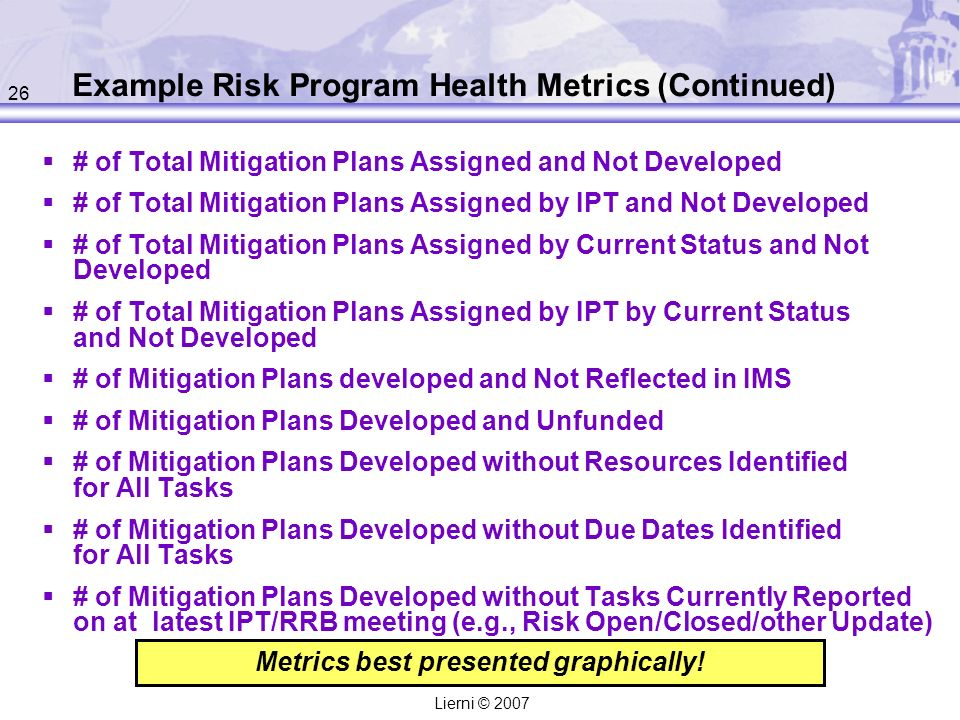26 Lierni © 2007 Example Risk Program Health Metrics (Continued) # of Total Mitigation Plans Assigned and Not Developed # of Total Mitigation Plans Assigned by IPT and Not Developed # of Total Mitigation Plans Assigned by Current Status and Not Developed # of Total Mitigation Plans Assigned by IPT by Current Status and Not Developed # of Mitigation Plans developed and Not Reflected in IMS # of Mitigation Plans Developed and Unfunded # of Mitigation Plans Developed without Resources Identified for All Tasks # of Mitigation Plans Developed without Due Dates Identified for All Tasks # of Mitigation Plans Developed without Tasks Currently Reported on at latest IPT/RRB meeting (e.g., Risk Open/Closed/other Update) Metrics best presented graphically.
