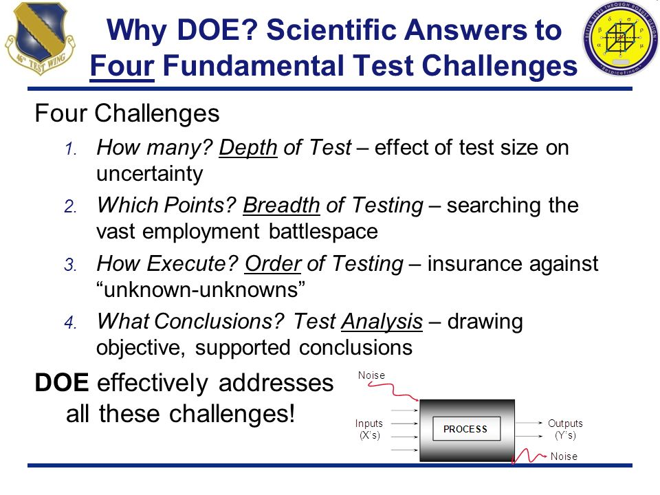 Why DOE? Scientific Answers to Four Fundamental Test Challenges Four Challenges 1. How many? Depth of Test – effect of test size on uncertainty 2. Whi