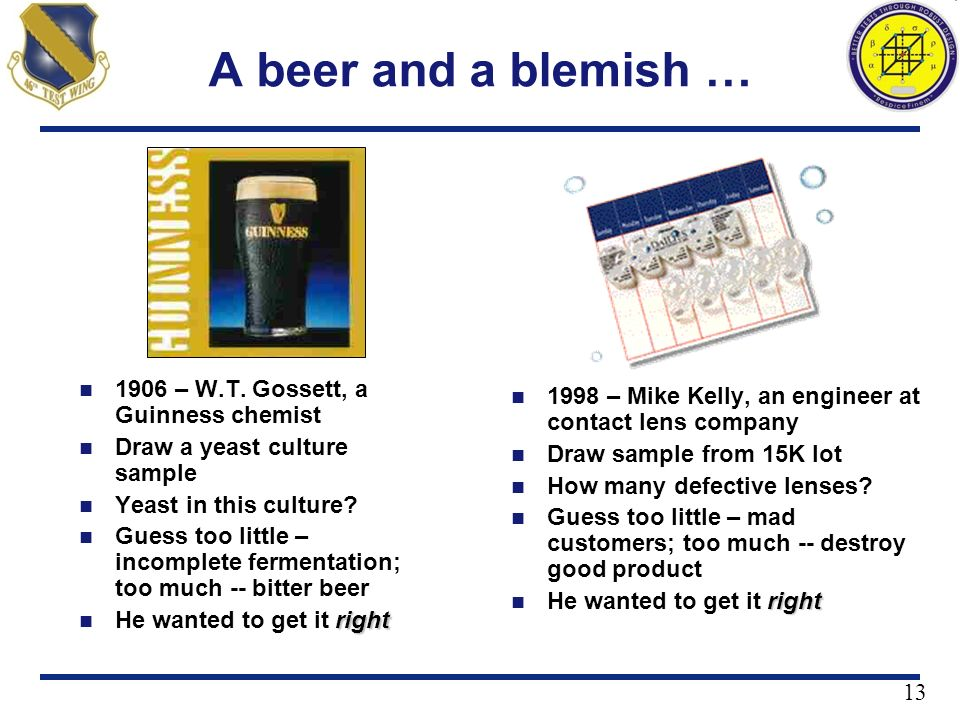 13 A beer and a blemish … 1906 – W.T. Gossett, a Guinness chemist Draw a yeast culture sample Yeast in this culture? Guess too little – incomplete fer