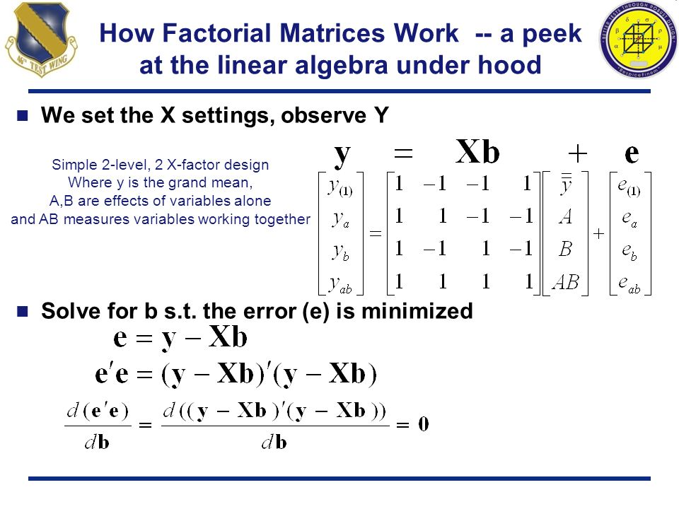 How Factorial Matrices Work -- a peek at the linear algebra under hood We set the X settings, observe Y Solve for b s.t. the error (e) is minimized Si