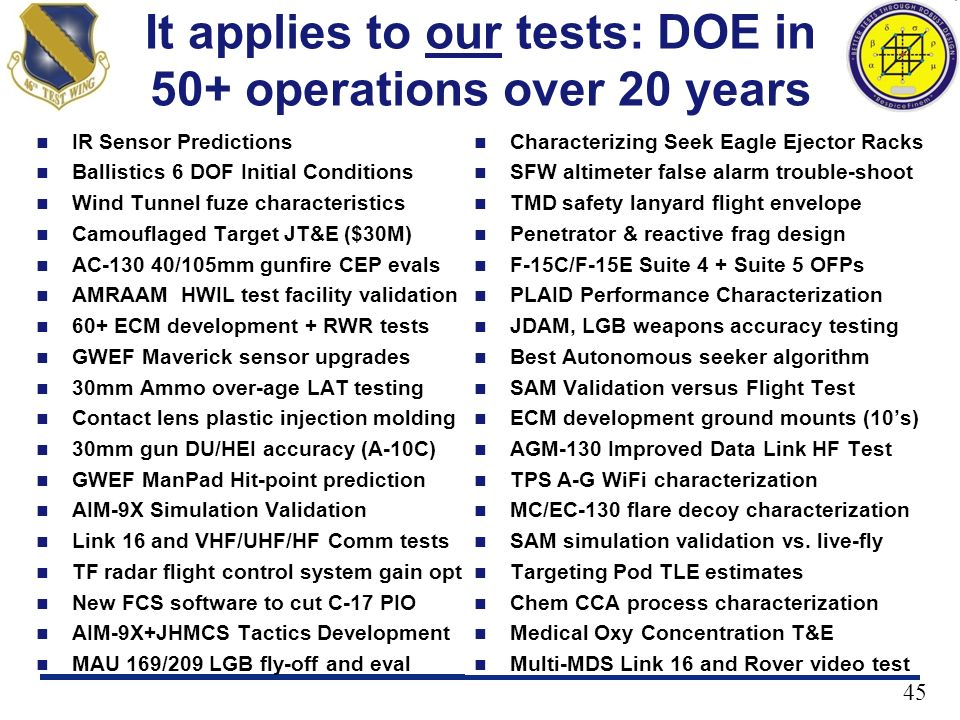45 It applies to our tests: DOE in 50+ operations over 20 years IR Sensor Predictions Ballistics 6 DOF Initial Conditions Wind Tunnel fuze characteris