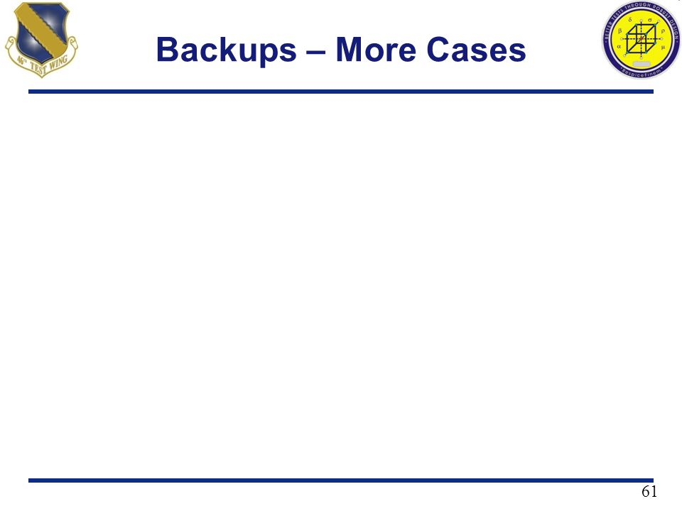 Backups – More Cases 61