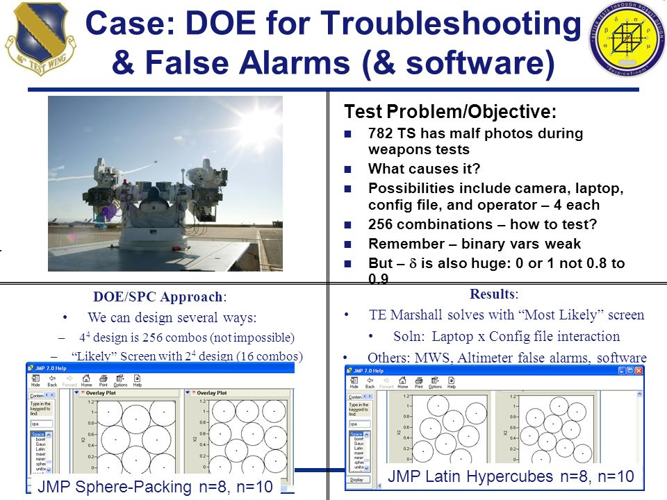Case: DOE for Troubleshooting & False Alarms (& software) Test Problem/Objective: 782 TS has malf photos during weapons tests What causes it? Possibil