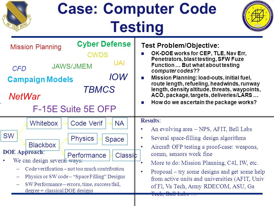 Case: Computer Code Testing Test Problem/Objective: OK-DOE works for CEP, TLE, Nav Err, Penetrators, blast testing, SFW Fuze Function … But what about
