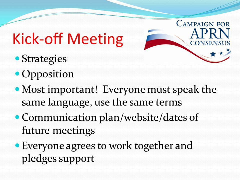 Kick-off Meeting Strategies Opposition Most important.
