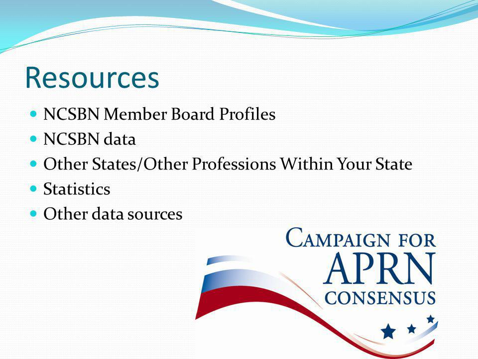 Resources NCSBN Member Board Profiles NCSBN data Other States/Other Professions Within Your State Statistics Other data sources