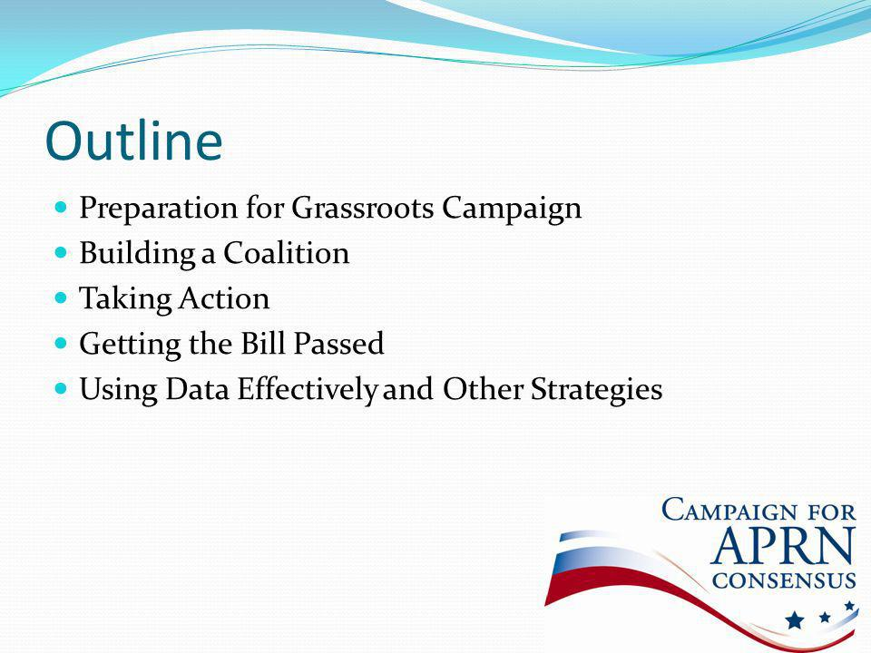 Outline Preparation for Grassroots Campaign Building a Coalition Taking Action Getting the Bill Passed Using Data Effectively and Other Strategies