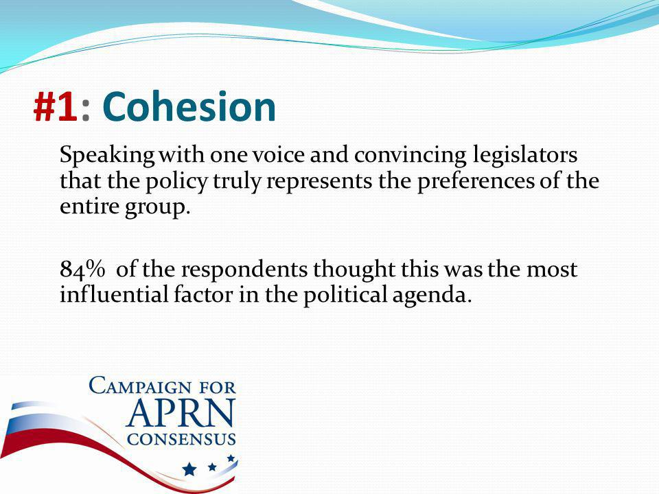 #1: Cohesion Speaking with one voice and convincing legislators that the policy truly represents the preferences of the entire group.