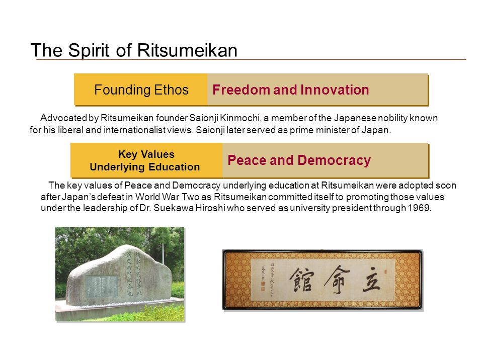 The Spirit of Ritsumeikan A dvocated by Ritsumeikan founder Saionji Kinmochi, a member of the Japanese nobility known for his liberal and internationalist views.