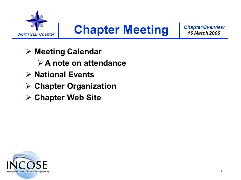 Chapter Overview 16 March 2006 North Star Chapter 3 Meeting Calendar A note on attendance National Events Chapter Organization Chapter Web Site Chapter Meeting