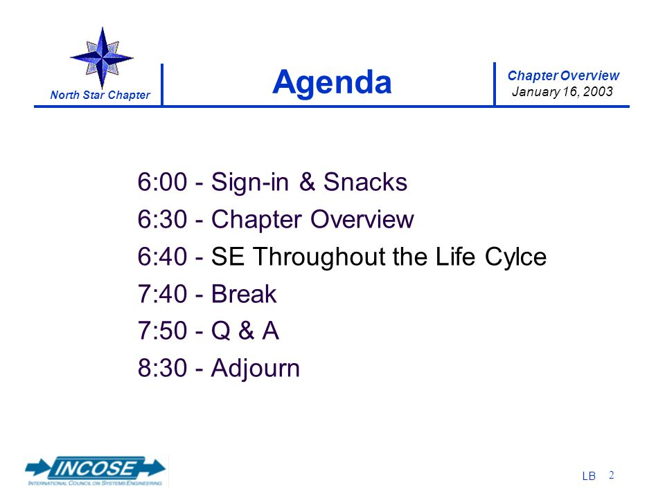 Chapter Overview January 16, 2003 North Star Chapter LB 2 6:00 Sign-in & Snacks 6:30 Chapter Overview 6:40 SE Throughout the Life Cylce 7:40 Break 7:50 Q & A 8:30 Adjourn Agenda
